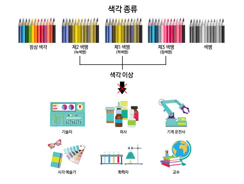 기술자,의사,기계운전사,시각예술가,화학자,교수 색각 종류- 정상 색각 ,색각이상 -제2 색맹(녹색형) ,제1 색맹(적색형) , 제3 색맹(청색형) , 색맹