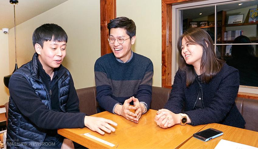 삼성전자 대학생기자단 서우진∙김동찬∙최하영씨. 1∙2기로 활동했던 세 사람의 사진