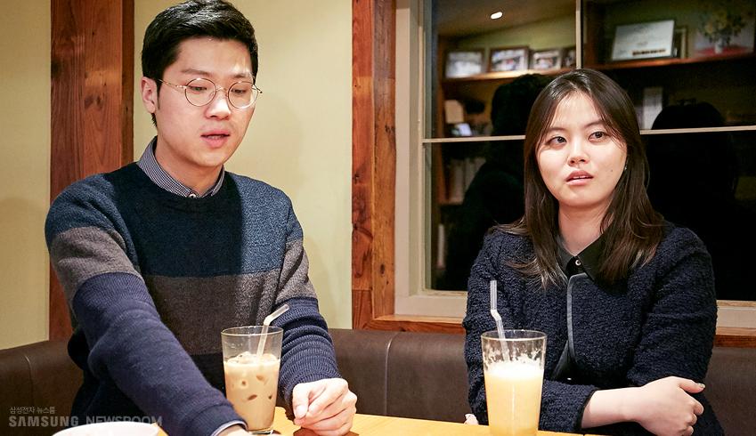 삼성전자 대학생기자단 1∙2기로 활동했던 김동찬,최하영씨의 인터뷰 모습