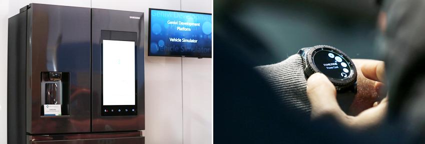 삼성 냉장고 패밀리허브는 기어 S3 이미지