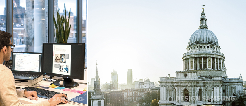 삼성디자인유럽 근무 디자이너가 컴퓨터로 작업을 진행하고 있습니다. 오른쪽엔 밀라노의 전경이 보입니다.
