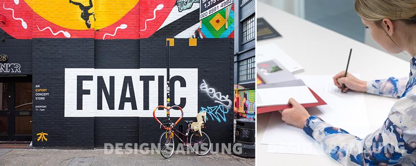 FNATIC 이란 단어가 디자인적으로 감각적이게 그려져 있습니다. 오른쪽엔 스케치 하는 여성의 모습이 보입니다.