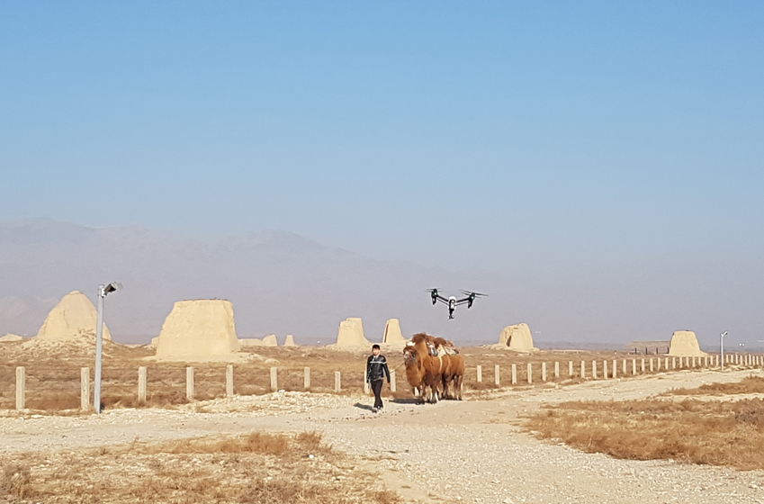 겨울 사막 한복판에서 낙타와 마주하는 드론