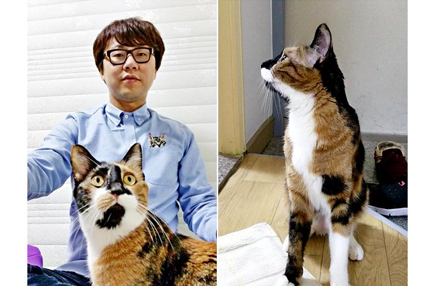 김광은 선임과 고양이 아리. 김광은 선임이 샤워 할 때마다 늘 문 밖에서 기다리는 아리