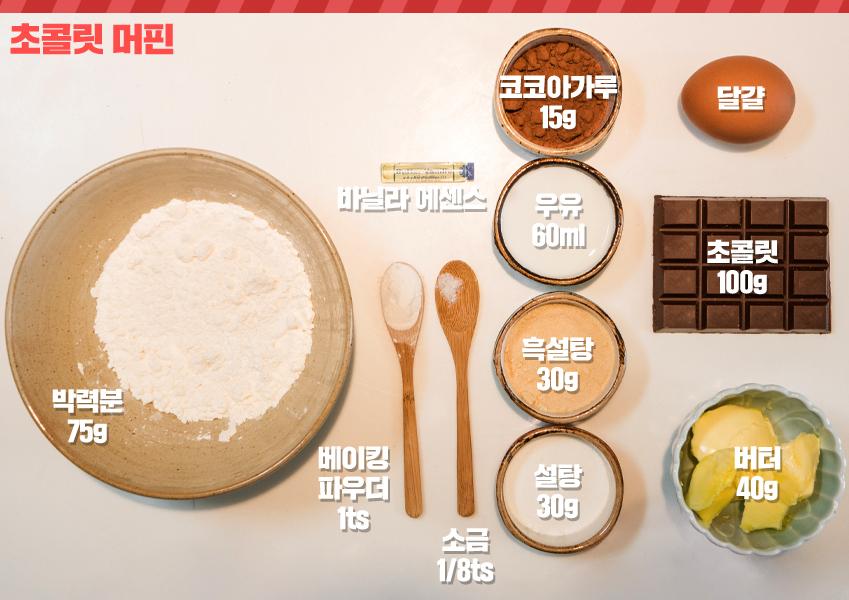 초콜릿 머핀 박력분 75g , 바닐라 에센스 , 베이킹파우더 1ts , 소금 1/8ts , 코코아가루 15g , 우유 60ml , 흑설탕 30g , 설탕 30g 달걀 , 초콜릿 100g , 버터40g