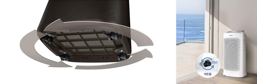 블루스카이 6000(왼쪽 사진)·5000 제품 아래쪽엔 편리한 기기 이동을 돕는바퀴가 달려 있는 사진 360도 히든휠