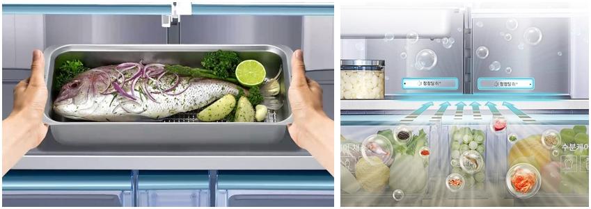 생선을 패밀리허브 셰프 팬에 냉장보관 하는 사진