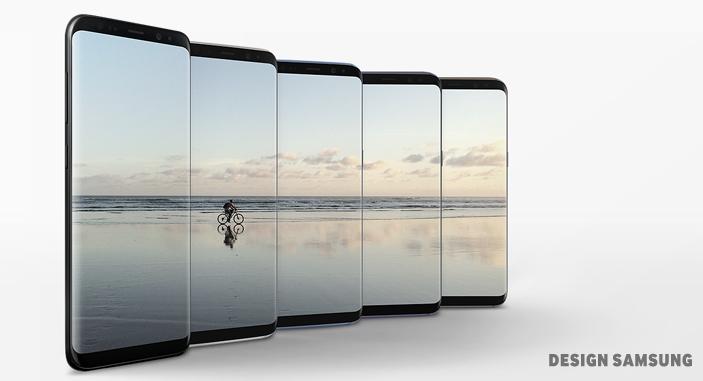 전면 전체가 디스플레이(Infinity display)인 갤럭시 S8은 기존 기기의 한계를 뛰어넘어 강렬한 실루엣을 남깁니다 (디자인 삼성)