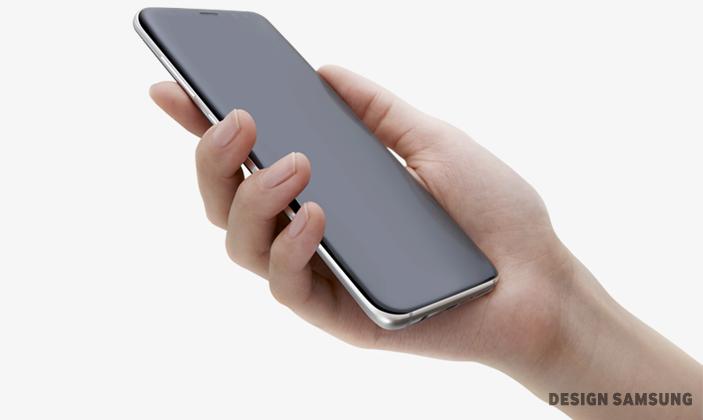일명 '그립감(grip感)'은 기기의 곡선이 얼마나 사용자 손에 꼭 맞는지가 좌우합니다. 갤럭시 S8은 기기 전∙후면과 중앙에서 완벽한 대칭을 이루는 곡률이 양 끝에서 만나며 베젤을 사실상 거의 없앴습니다. 이 미세한 곡률은, 역시 곡선형인 엣지와 완벽한 조화를 이루며 사용자 손에 착 감깁니다. (디자인 삼성)
