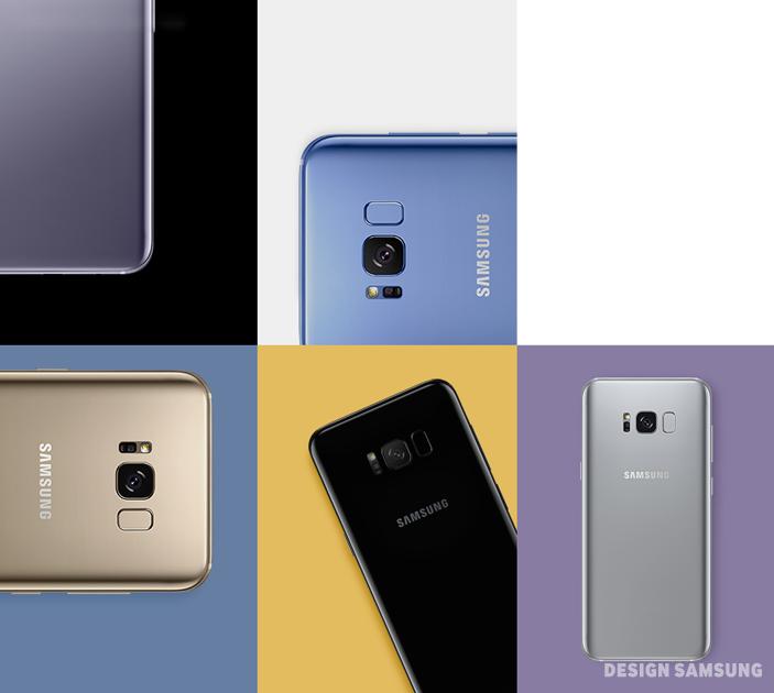 갤럭시 S8의 색상은 일명 '뉴트럴 컬러(neutral color)'로 명명됐습니다. 말 그대로 어느 한쪽에 치우치지 않은 중성적 색채로 사용자의 일상에 자연스레 녹아들죠. 다섯 개의 모델 모두 채도가 낮아져 차분하면서도 안락한 느낌을 줍니다. 또한 소재에 닿는 빛의 각도에 따라 색상이 다채롭게 바뀌어 '우연한 아름다움'을 기대할 수도 있습니다.