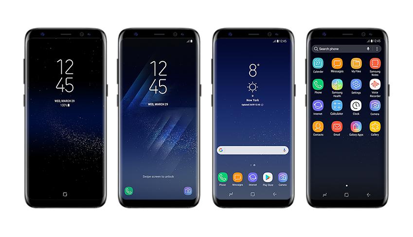 '올웨이즈 온 디스플레이→ 잠금 화면→ 홈 화면→ 앱 화면'(왼쪽부터)으로 이어지는 흐름은 갤럭시 S8 UX가 얼마나 부드럽고 일체감 있게 구현되는지 보여줍니다