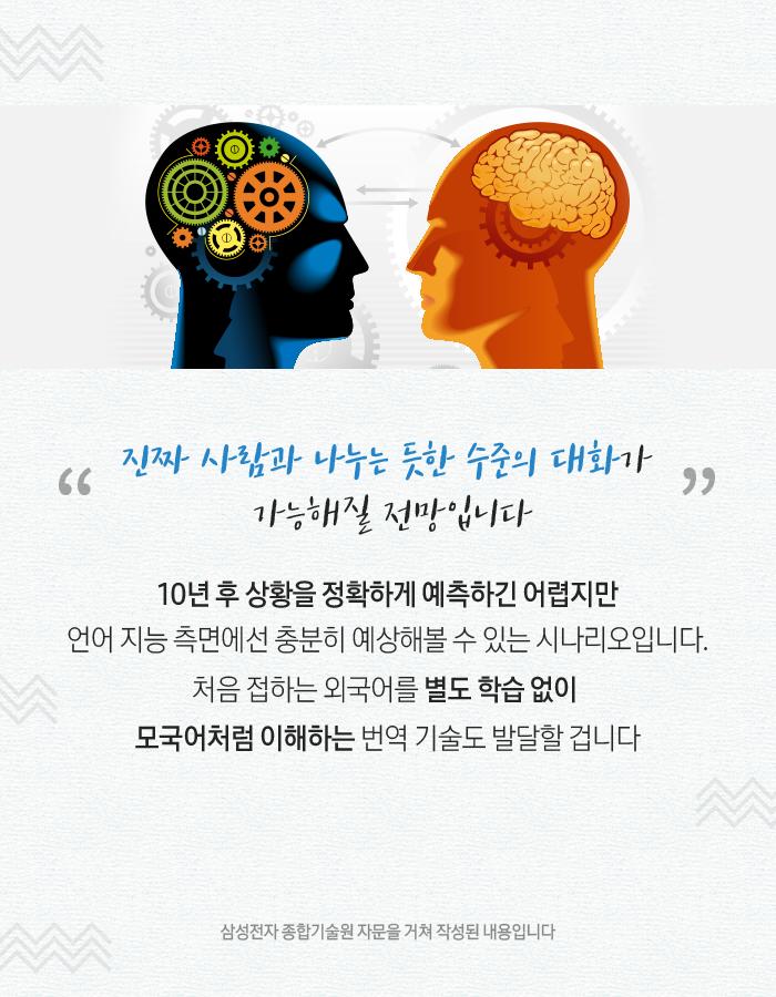 진짜 사람과 나누는 듯한 수준의 대화가 가능해질 전망입니다. 현 단계에서 10년 후 미래를 섣불리 예측하긴 쉽지 않습니다. 다만 언어나 지능 분야에선 '마치 사람과 대화하는 듯한' 인공지능을 만날 수 있을 전망이라고 하네요. 한 번도 배워본 적 없는 외국어도 모국어처럼 이해하는 번역 기술 역시 나올 거라니 기대해볼 만하겠죠? 삼성전자 종합기술원 자문을 거쳐 작성된 내용입니다.