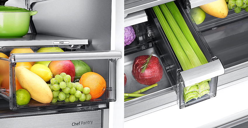 셰프컬렉션의 수분케어채소실플러스(왼쪽 사진)와 긴 채소 보관실