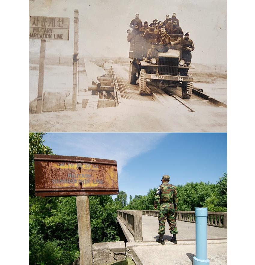 파주시 판문점에 위치한 일명 '돌아올 수 없는 다리(Bridge of No Return)'의 과거와 현재모습입니다.