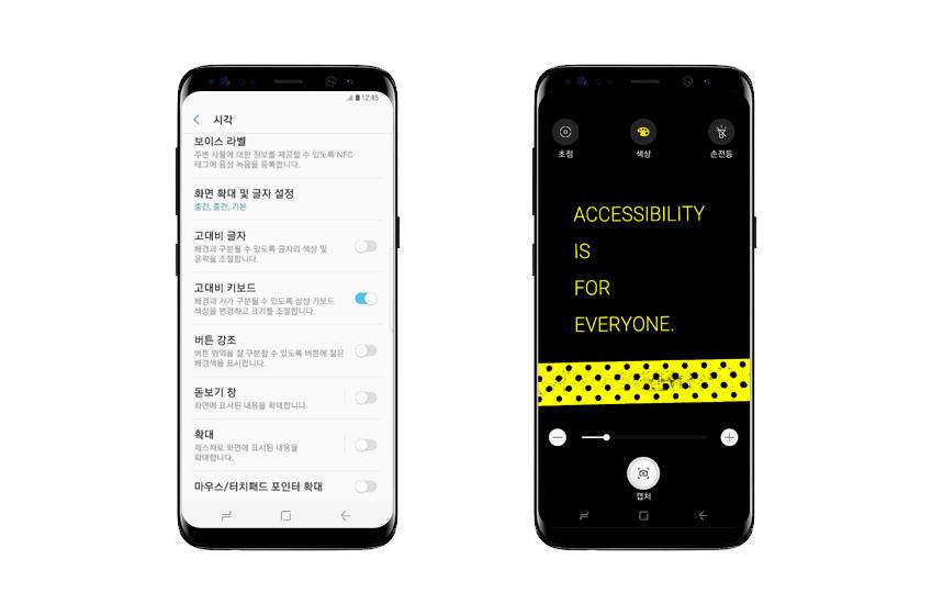 갤럭시 S8은 시각과 관련된 다양한 접근성 기능(사진 왼쪽)과 돋보기 위젯을 제공합니다