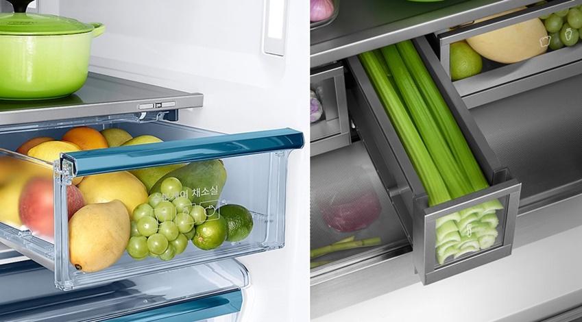 삼성 셰프컬렉션의 풀메탈쿨링 수분케어채소실+와 긴채소보관실의 모습