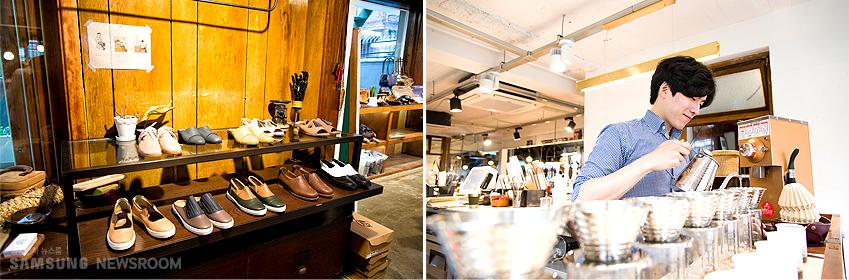 매장과 작업실(공방) 그리고 새롭게 오픈한 카페가 하나의 생활 공간처럼 조화로운 1층 모습