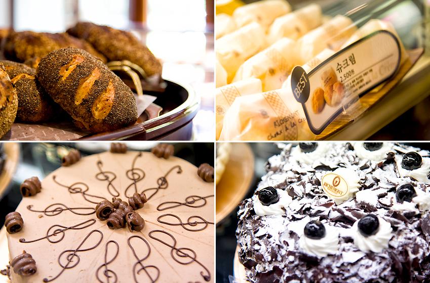 예전부터 꾸준히 사랑받는 리치몬드 과자점의 대표 메뉴들, 왼쪽 위부터 시계 방향으로 오렌지 천연발효빵, 슈크림, 키르슈토르테 케이크, 요한 스트라우스 케이크