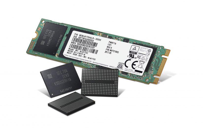 v낸드 플래시 칩 3개, 삼성전자 '4세대(64단) 256Gb 3bit V낸드'(3차원 수직구조 낸드, 3D Vertical NAND) 칩과 이를 기반으로 한 SSD 제품