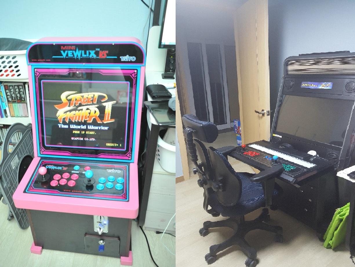 미니 뷰릭스 게임기(왼쪽)과 새로운 게임기(오른쪽)