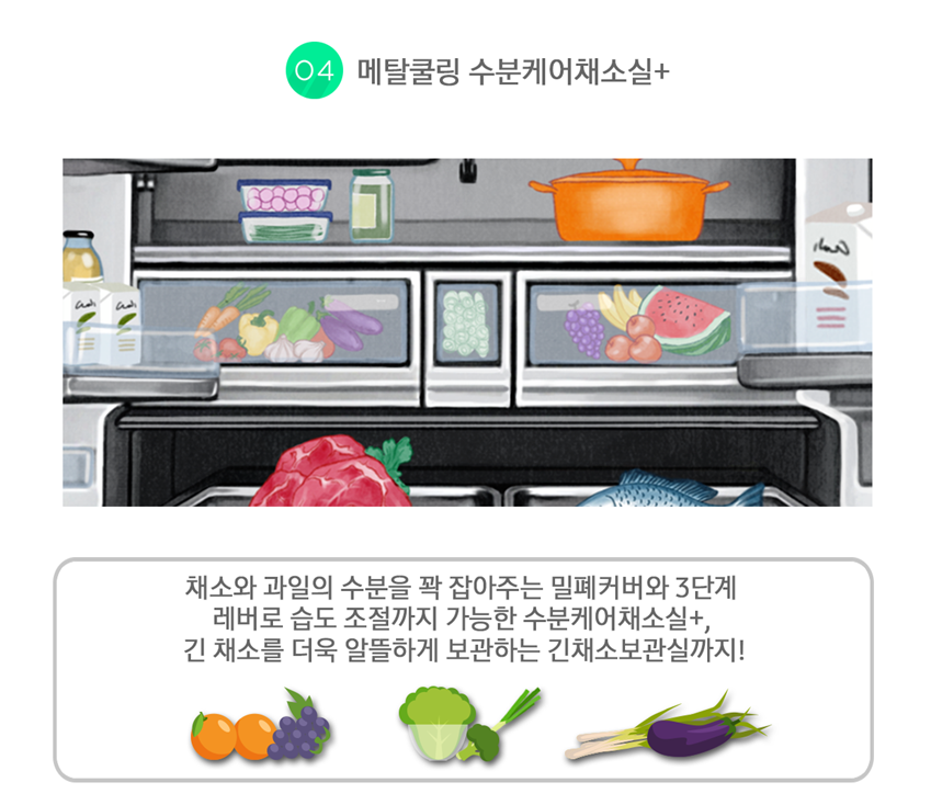 셰프컬렉션 메탈쿨링 수분케어채소실플러스, 채소와 과일의 수분을 꽉 잡아주는 밀폐커버와 3단계 레버로 습도 조절까지 가능한 수분케어채소실+, 긴 채소를 더욱 알뜰하게 보관하는 긴채소보관실까지