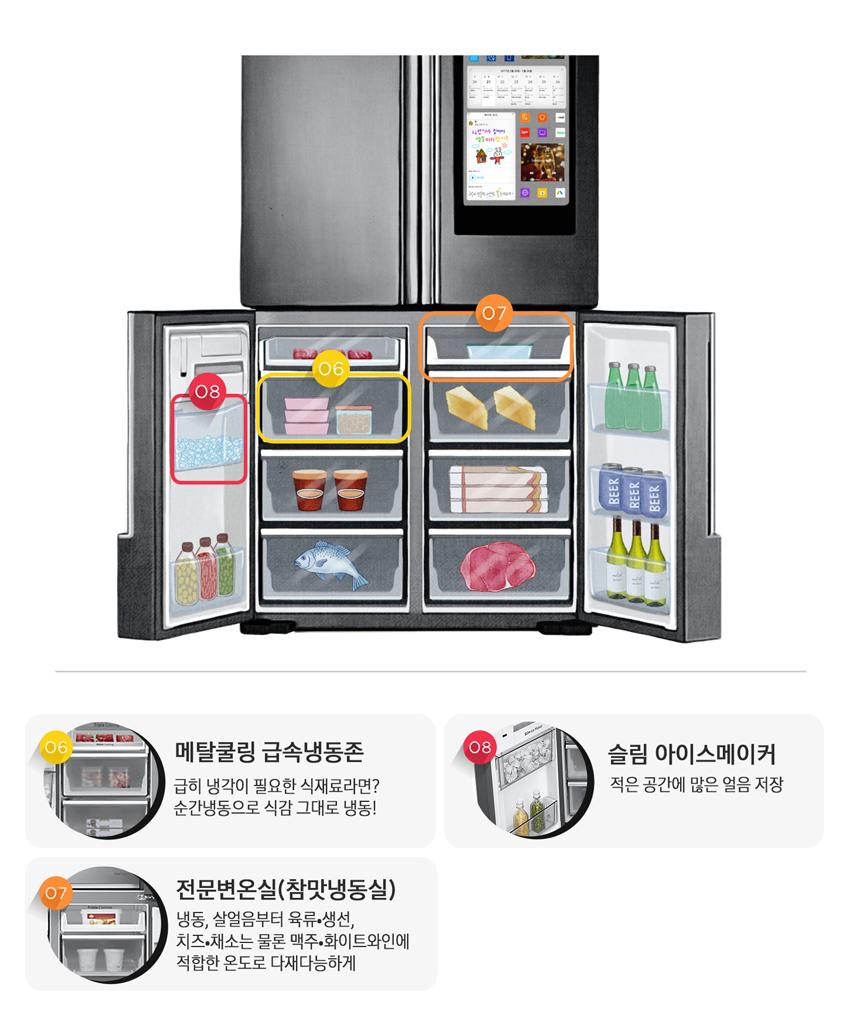 셰프컬렉션 냉동실 기능 소개, 메탈쿨링급속냉동존, 급히 냉각이 필요한 식재료라면? 순간냉동으로 식감 그대로 냉동!, 슬림 아이스 메이커, 적은 공간에 많은 얼음 저장, 전문변온실(참맛냉동실) 냉동, 살엄음부터 육류,생선,치즈,채소,는 물론 맥주, 화이트와인에 적합한 온도로 다재다능하게