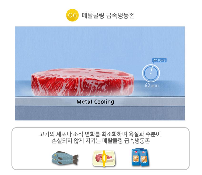 셰프컬렉션 메탈쿨링 급속냉동존, 고기의 세포나 조직 변화를 최소화하며 육질과 수분이 손실되지 않게 지키는 메탈쿨링 급속냉동존