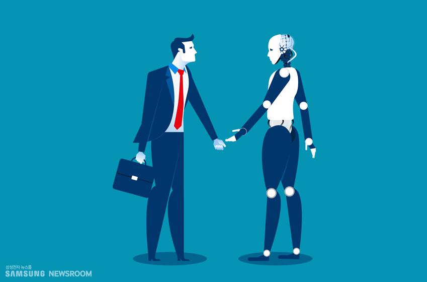 인간과 악수하는 인공지능