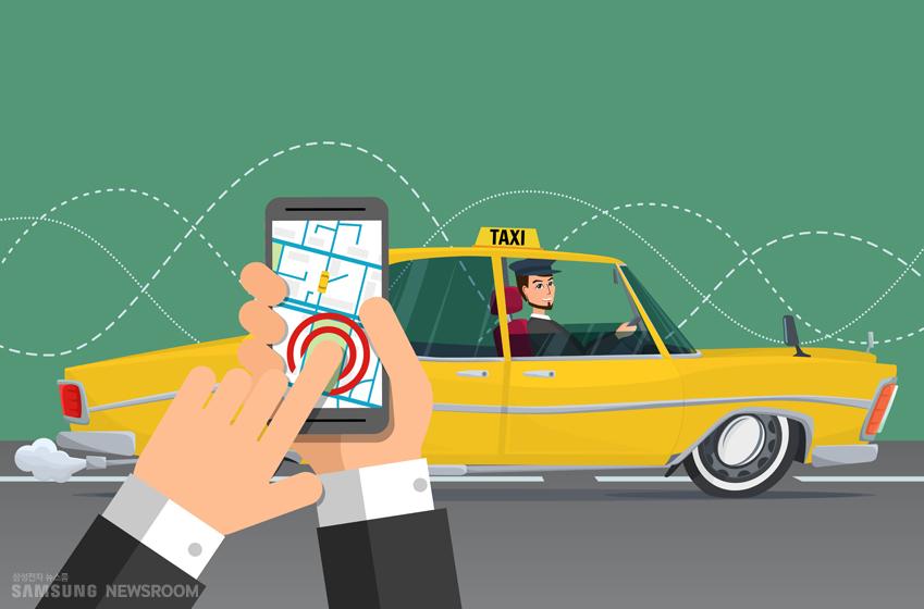 택시와 스마트폰 사진