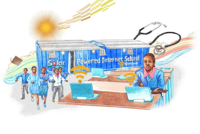 노엘라 니안뎅가가 태양광 인터넷 스쿨에서 공부하는 모습