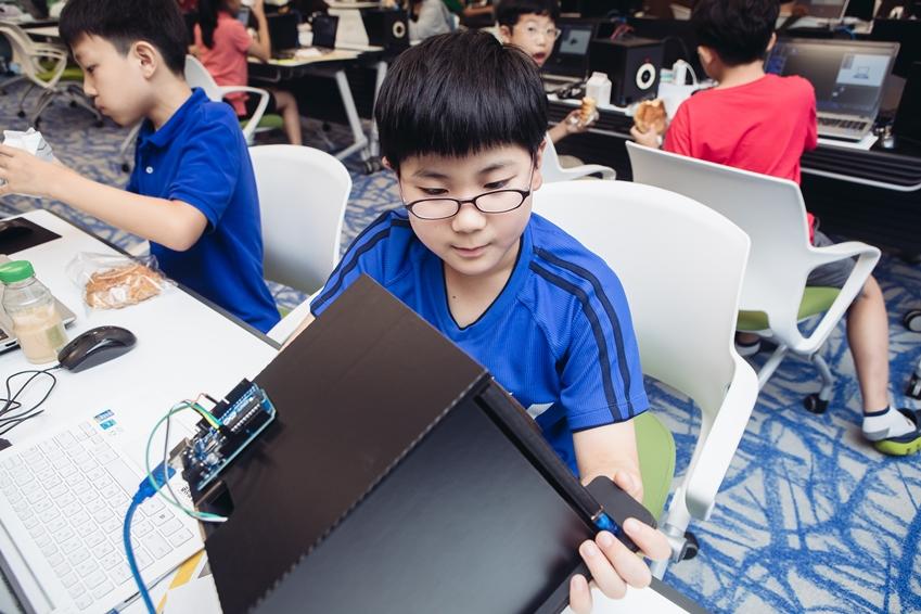 교육에 참여한 12살 박상준 군