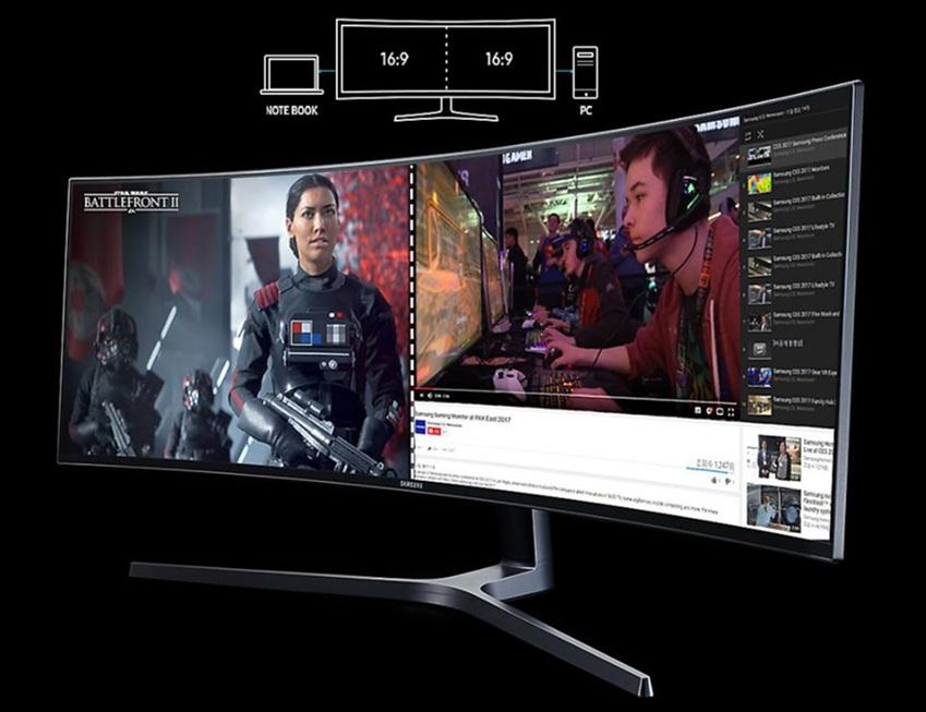 ▲PBP(Picture-by-Picture) 기능을 통해 2가지의 서로 다른 기기를 연걸, 한 개의 스크린에서 다양한 작업창을 띄워놓고 작업이 가능하다. 게임뿐 아니라 작업의 효율성을 높일 수 있다