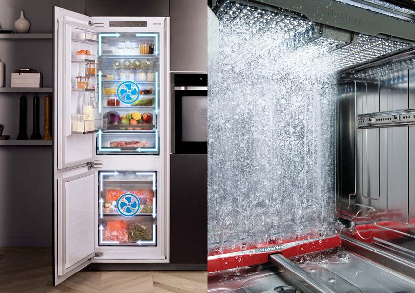 ▲ 냉장과 냉동칸에 각각의 컴프레서를 탑재한 삼성 냉장고의 '트윈 쿨링' 시스템 (왼쪽)과 물장벽을 만들어 앞뒤로 움직이며 세척하는 삼성 식기세척기의 '워터월'(오른쪽)