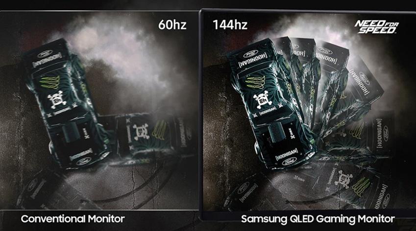 ▲144Hz의 주사율은 화면의 움직임을 빠르게 포착해 매끄러운 게임 플레이를 가능하게 한다