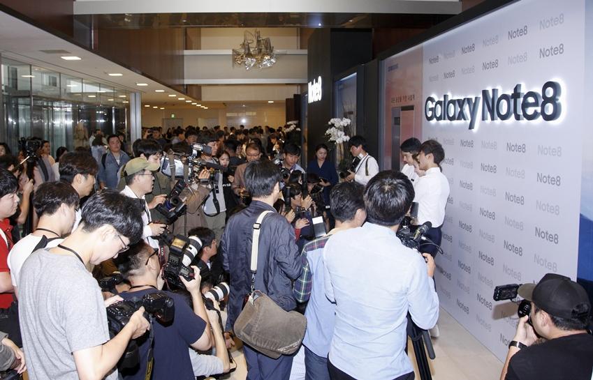 갤럭시 노트8 미디어 데이에 모인 기자들