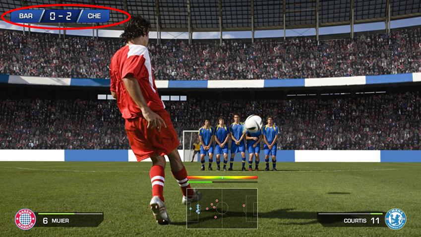 게이밍 모니터 속 축구게임