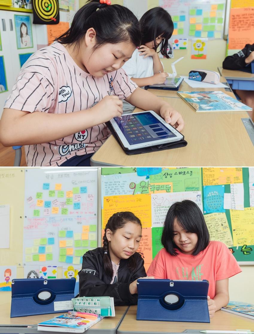 ▲LED 화면과 태블릿으로 수업을 진행하고, 모르는 것이 있으면 바로 검색을 한다. 생활 속의 작은 편리함을 극대화해주는 것이 결국 첨단 IT 장비의 진짜 목적 아닐까?