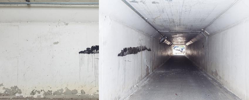 ▲벽화가 그려지기 전 오산시민회관 굴다리. 무채색 공간에 군데군데 칠까지 벗겨져 흉물스럽게 방치된 모습이다