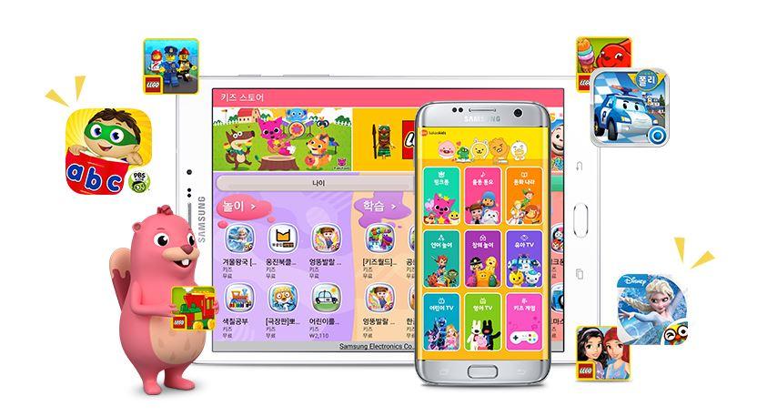 키즈모드는 맞춤형 콘텐츠를 통해 다양한 놀이와 학습을 지원합니다. 키즈모드 안의 키즈 스토어에서 2500여 개의 유·무료 앱을 다운로드할 수 있는데요. 연령대별 교육 콘텐츠는 물론 인기 캐릭터 기반의 앱도 폭넓게 즐길 수 있습니다. 대표적인 키즈 서비스와 제휴해 카카오키즈의 동요, 동화, 스마트 학습 등 15000여 가지 콘텐츠