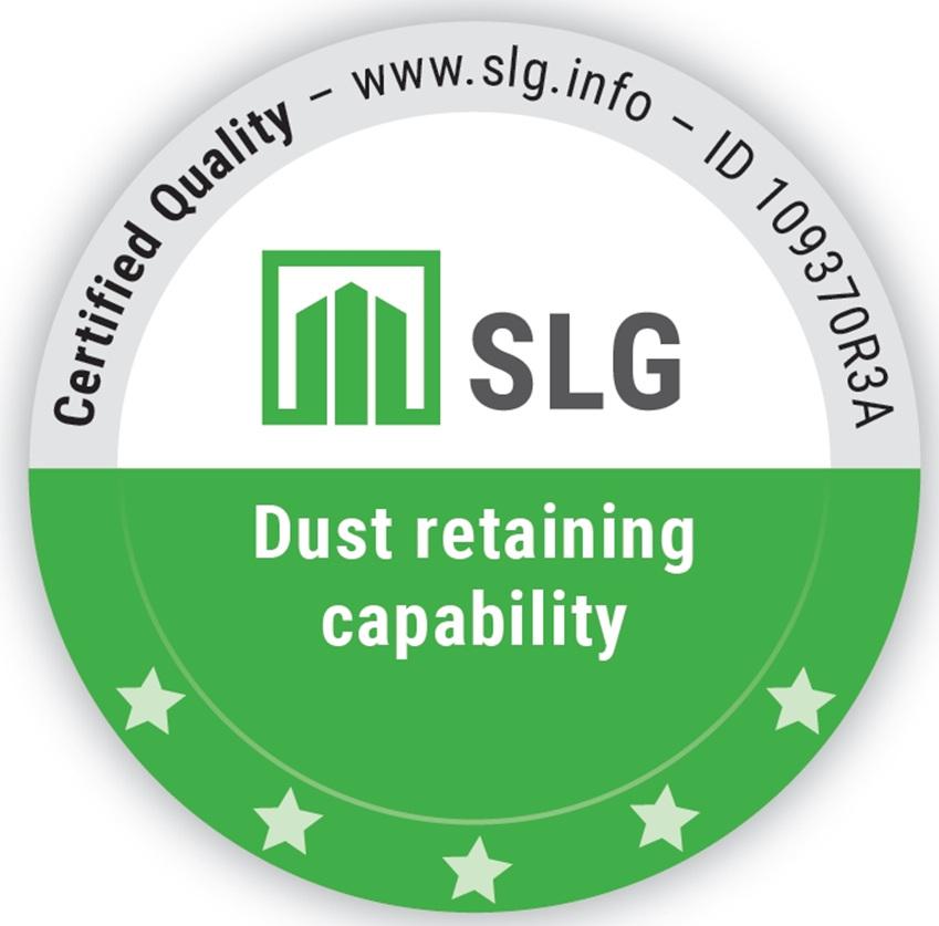 독일 국제 공인시험 기관 SLG의 미세먼지 차단 5 Stars 등급 인증 로고