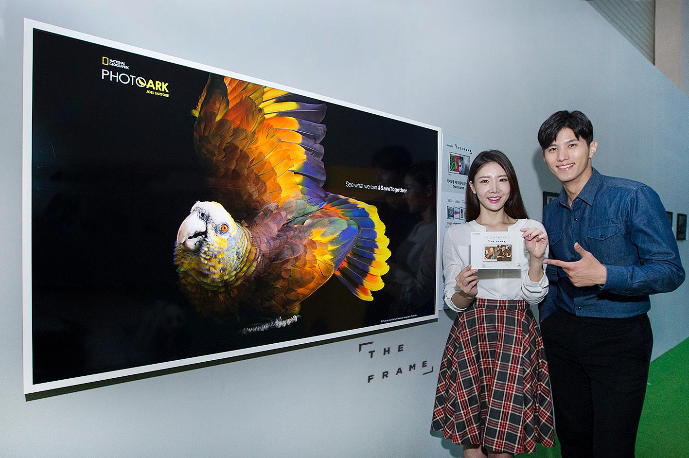 삼성전자 모델들이 서울 용산 전쟁기념관에서 열리는 내셔널지오그래픽 특별전에서 멸종 위기 동물인 '무지개아마존앵무' 사진을 삼성 라이프스타일TV '더 프레임'을 통해 감상하고 있다.