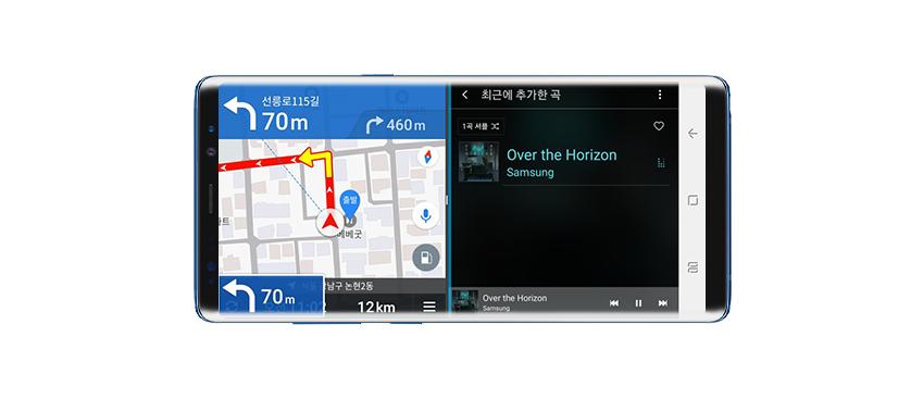 네비게이션과 음악앱을 동시에 실행한 모습 / 노래는 Over the horizen