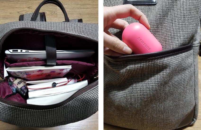 꼬인 이어폰이 들어있는 가방과 기어 아이콘X가 들어있는가방 비교