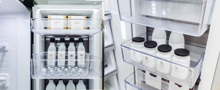 ▲온 가족이 자주 찾는 음료수나 소스 등을 보관하는 '패밀리존'(왼쪽)과 아이들이 손쉽게 간식, 우유 등을 꺼내 먹을 수 있는 냉장실 하단의 '키즈존'(오른쪽)