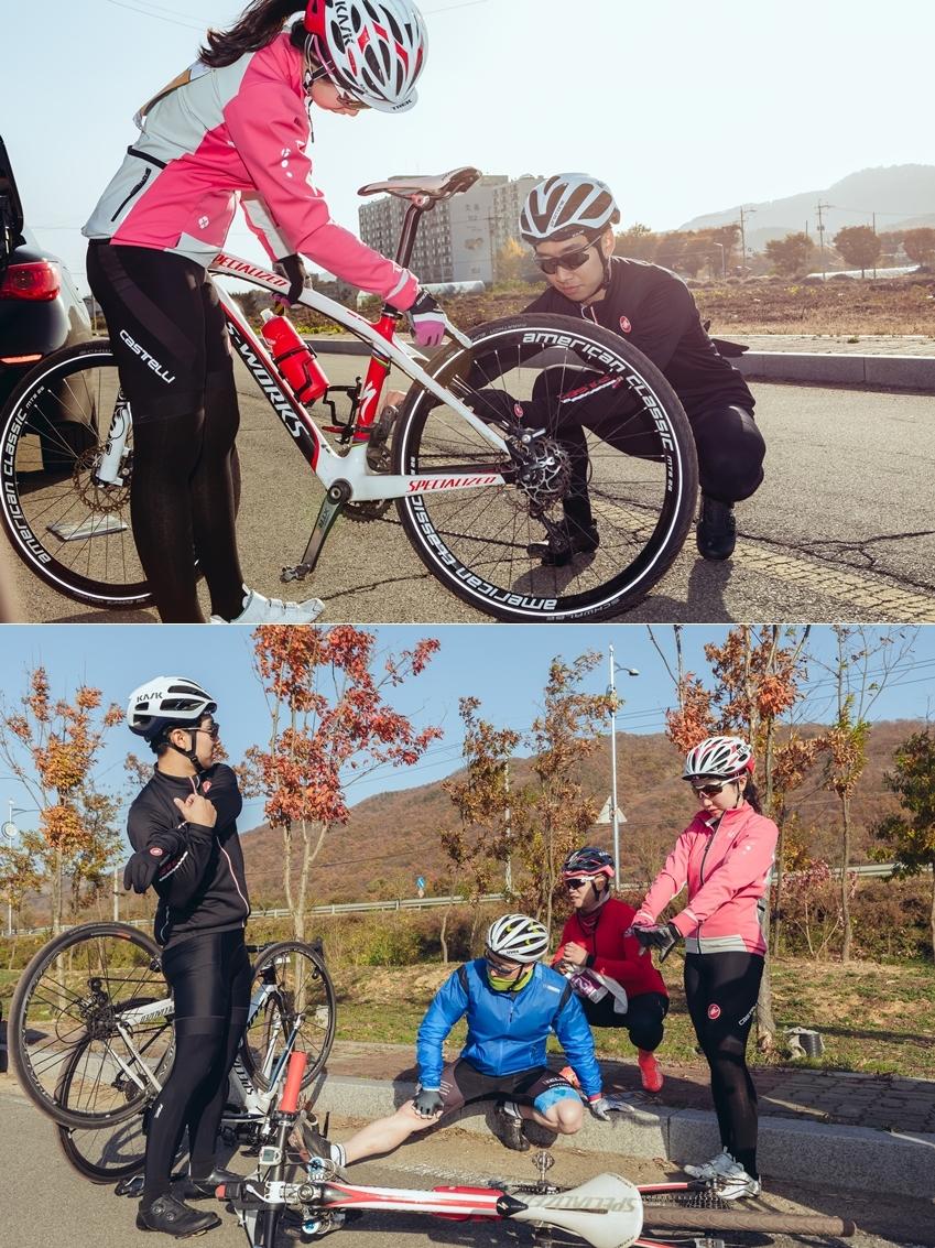 ▲ 출발 전, 자전거를 체크하고 몸을 푸는 동호회원들