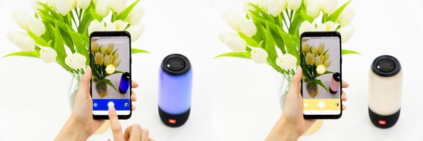 ▲휴대폰으로 노란색 꽃을 찍자, 파란색이었던 LED 색상이 꽃 색깔과 동일한 노란색으로 변경됐다