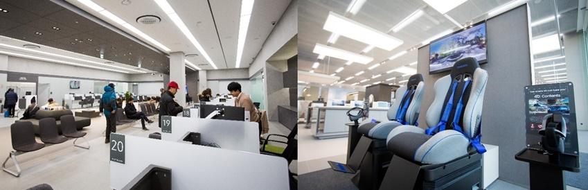 ▲(왼쪽 사진) 삼성 디지털프라자 용인구성점에는 A/S센터도 함께 있어 구매부터 애프터서비스(A/S)까지 원스톱 해결할 수 있는 것도 특징이다. (오른쪽 사진) 대기시간 동안 VR기기체험이 가능한 4D 체험관도 운영된다