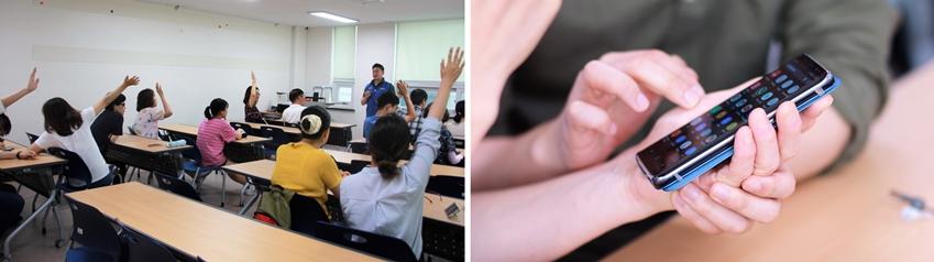 시각장애인들에게 갤럭시 스마트폰 사용법을 교육하는 '스마트 엔젤' 봉사활동