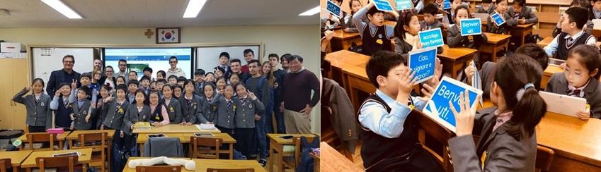 방문단은 계성초등학교를 방문해  학생들과 선생님이 태블릿 등의 IT 기기를 활용해 의사소통하고 수업을 진행하는 모습을 참관했다