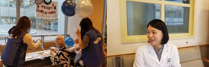 ▲ 행사에 참여 중인 아이들을 도와주는 봉사단원들(좌), 전체적인 진행을 도와준 삼성서울병원 구미현 책임